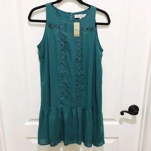 Loft Teal Flouncy Dress